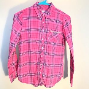 Girls Justice size 12 plaid  button down shirt